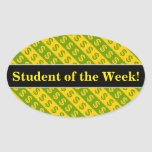 [ Thumbnail: Green & Yellow Dollar Signs ($) Striped Pattern Sticker ]