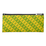 [ Thumbnail: Green & Yellow Dollar Signs ($) Striped Pattern Pencil Case ]