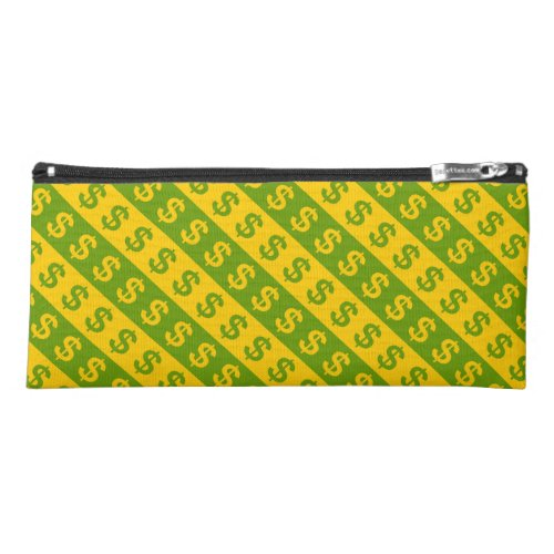 Green  Yellow Dollar Signs  Striped Pattern Pencil Case