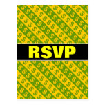 [ Thumbnail: Green & Yellow Dollar Signs ($) Striped Pattern Postcard ]