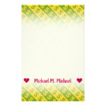 [ Thumbnail: Green & Yellow Dollar Signs ($) Striped Pattern Stationery ]