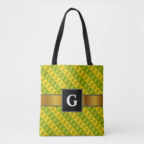 Green  Yellow Dollar Signs  Striped Pattern Tote Bag