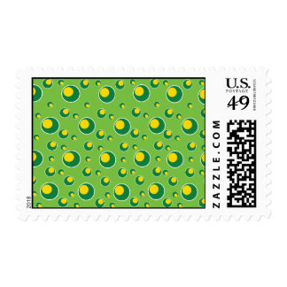 Green Yellow Dots Pattern Background Postage Stamp