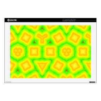 "Green & Yellow geometric pattern 17"" Laptop Decals"