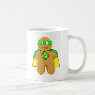 green & yellow gingerbread man super hero mug