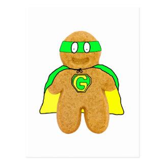 green & yellow gingerbread man super hero postcard