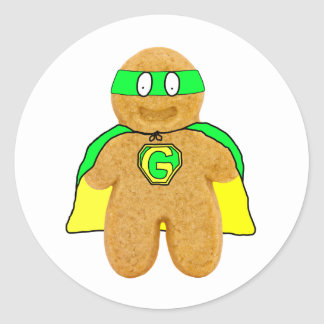 green & yellow gingerbread man super hero sticker