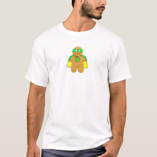 green & yellow gingerbread man super hero t-shirt