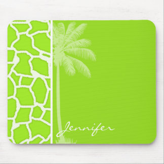Green-Yellow Giraffe Animal Print; Palm Mousepad