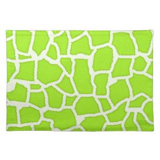 Green-Yellow Giraffe Animal Print Placemat