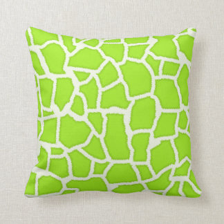 Green-Yellow Giraffe Animal Print Throw Pillow