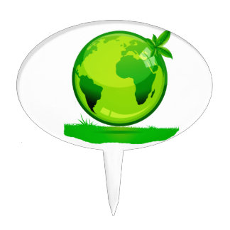green yellow globe over grass reflective earth des cake topper