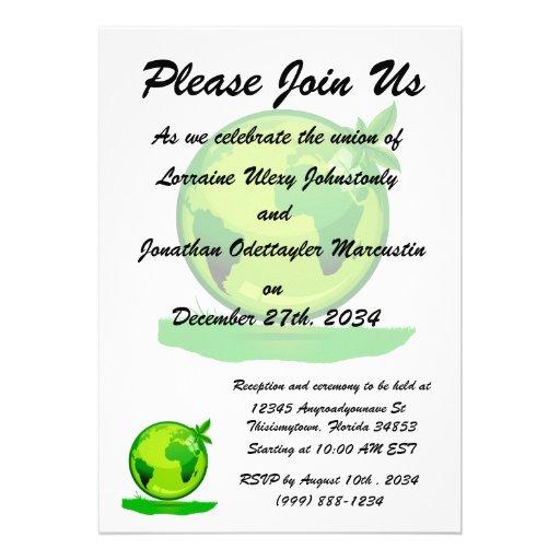 green yellow globe over grass reflective earth des personalized invitations