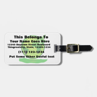 green yellow globe over grass reflective earth des luggage tag