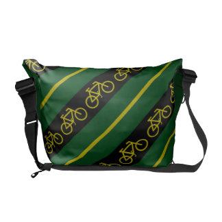 Green Yellow Gold Bike Bicycle Stripes Messenger Messenger Bag