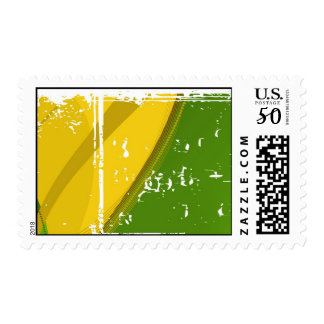 Green & Yellow Grunge Postage Template