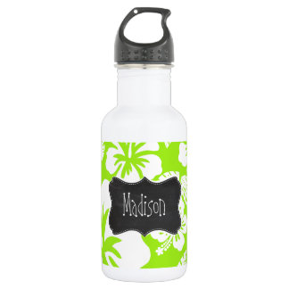 Green-Yellow Hawaiian Tropical; Chalkboark look 18oz Water Bottle