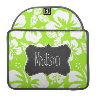 Green-Yellow Hawaiian Tropical; Chalkboark look Sleeve For MacBooks