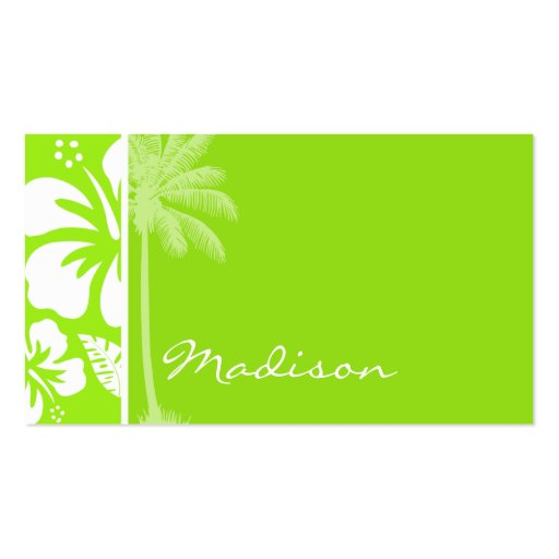 Green-Yellow Hawaiian Tropical Hibiscus; Palm Business Cards