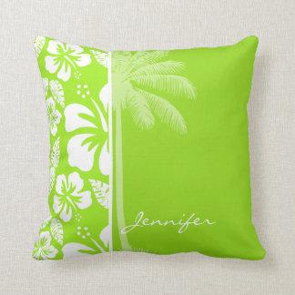 Green-Yellow Hawaiian Tropical Hibiscus; Palm Throw Pillow