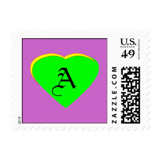 Green - Yellow Heart Letter A The MUSEUM Postage