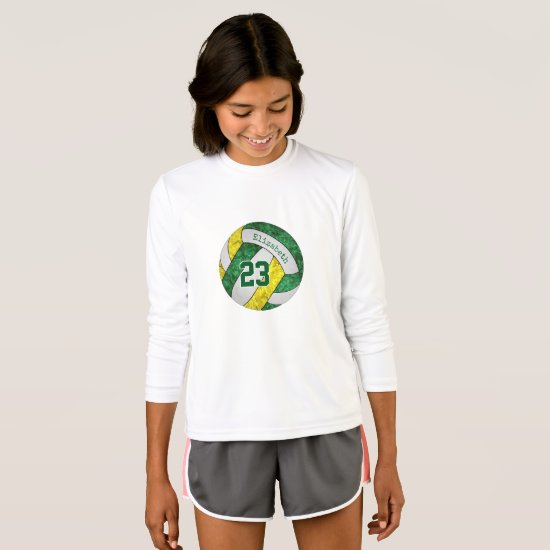 green yellow her name jersey number volleyball T-Shirt