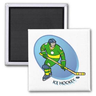 Green Yellow Ice Hockey Magnet