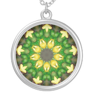 Green & Yellow Kaleidoscope Round Pendant Necklace