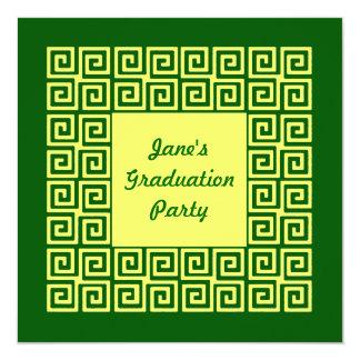 Green &Yellow Key Pattern Party Invitation