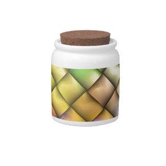 Green Yellow Lattice Basket Weave Candy Jars