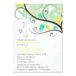 "Green & Yellow Love Birds Bridal Shower Invitation 5"" X 7"" Invitation Card"