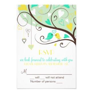 Green & Yellow Lovebird RSVP Wedding Card Invite