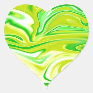 Green_Yellow Marbleized Spring,_ Heart Sticker