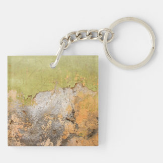 Green & Yellow Mottled Abstract Art Keychain