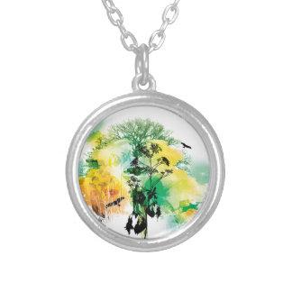 Green & Yellow Nature Tree Bird Design Round Pendant Necklace