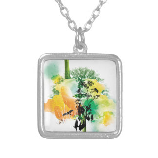 Green & Yellow Nature Tree Bird Design Square Pendant Necklace