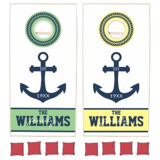 Green Yellow Nautical Anchor Personalized Cornhole Set