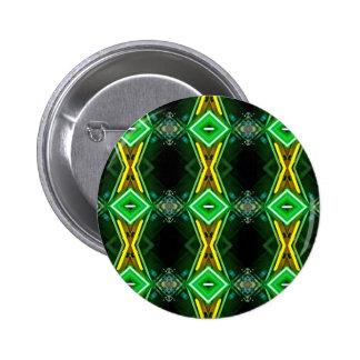 Green Yellow Neon Trendy Tribal Pattern Button