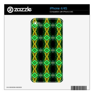 Green Yellow Neon Trendy Tribal Pattern Skins For iPhone 4