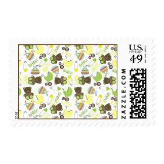 Green & Yellow Neutral Baby Shower Pattern Postage
