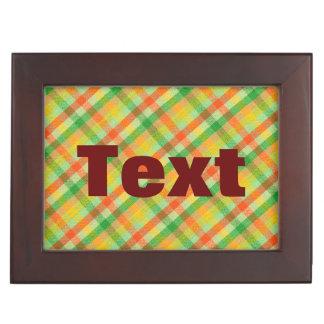 Green Yellow Orange Plaid Fabric Design Memory Boxes