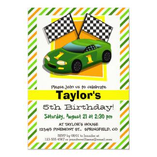 Green, Yellow, & Orange Race Car, Stripes 5x7 Paper Invitation Card