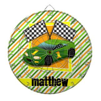 Green, Yellow, & Orange Race Car, Stripes Dartboard