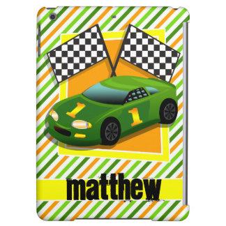 Green, Yellow, & Orange Race Car, Stripes iPad Air Cases
