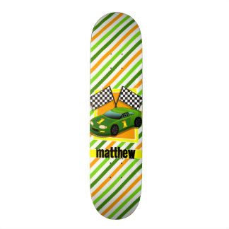Green, Yellow, & Orange Race Car, Stripes Skateboard Deck