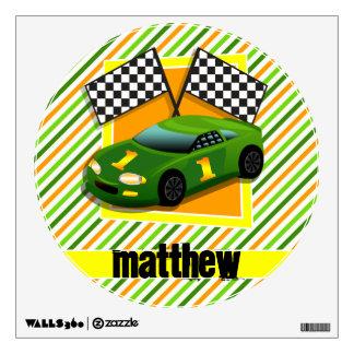 Green, Yellow, & Orange Race Car, Stripes Wall Decals