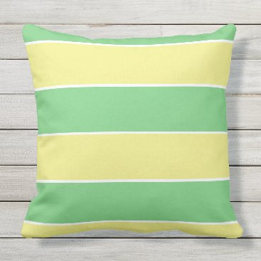 Beach Themed green & yellow pastel large stripes outdoor pillow