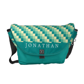Green Yellow Pixel Pattern Messenger Bag