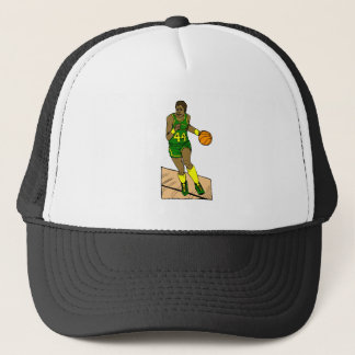 Green Yellow Player Dribbling Trucker Hat