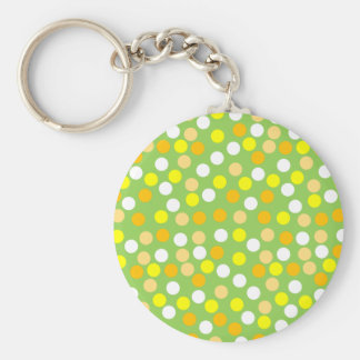 Green Yellow Polka Dot Round Keychain